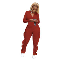 Red Two-piece leisure sports frilled pants