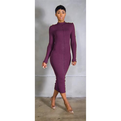 Purple Stretch slim long dress