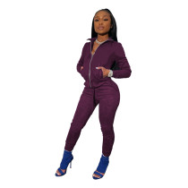 Purple Tights high stretch sports two-piece suit