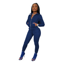 Blue Tights high stretch sports two-piece suit
