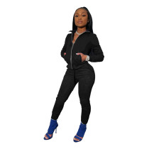 Black Tights high stretch sports two-piece suit