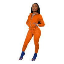 Orange Tights high stretch sports two-piece suit