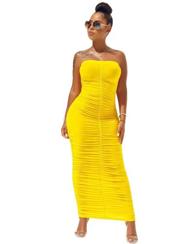 Yellow High elastic pleated tube top dress