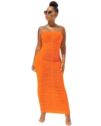 Orange High elastic pleated tube top dress
