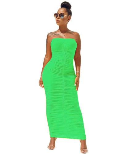 Green High elastic pleated tube top dress