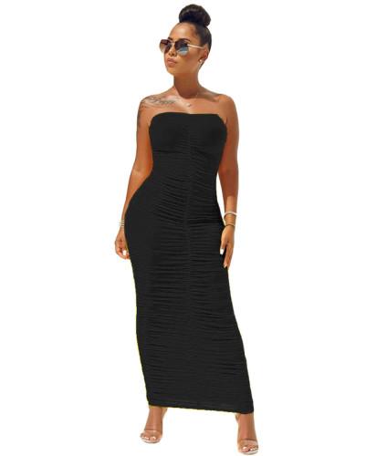 Black High elastic pleated tube top dress