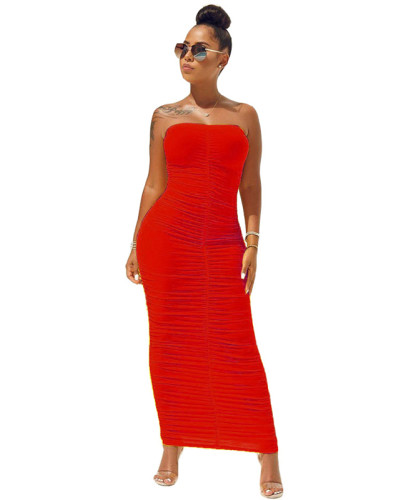 Red High elastic pleated tube top dress