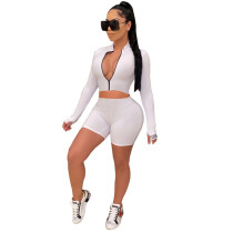 White High crater strip tight sports two-piece suit