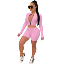 Pink High crater strip tight sports two-piece suit