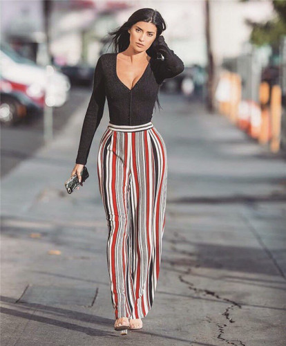Casual stripe fashion simple loose flared pants