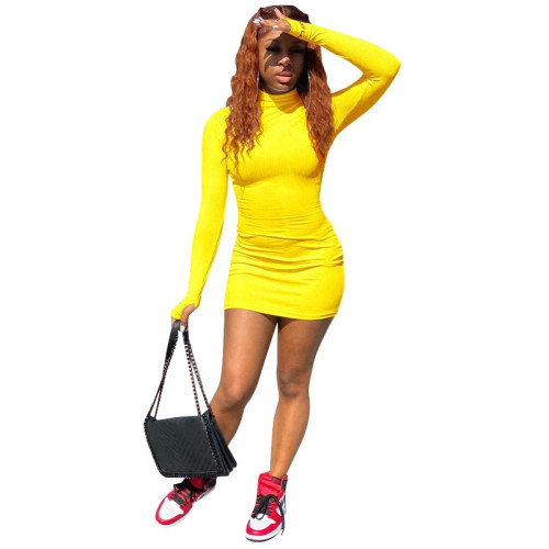 Yellow Solid color fingered sexy short skirt with hips