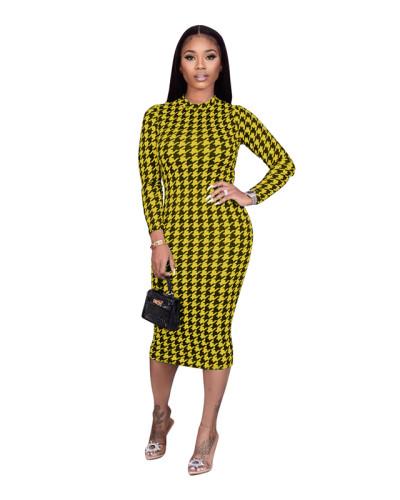 Yellow Houndstooth print dress