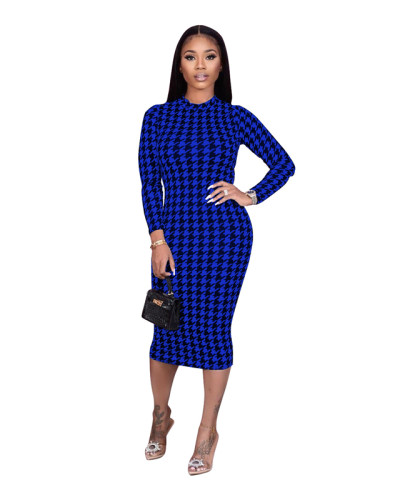 Blue Houndstooth print dress