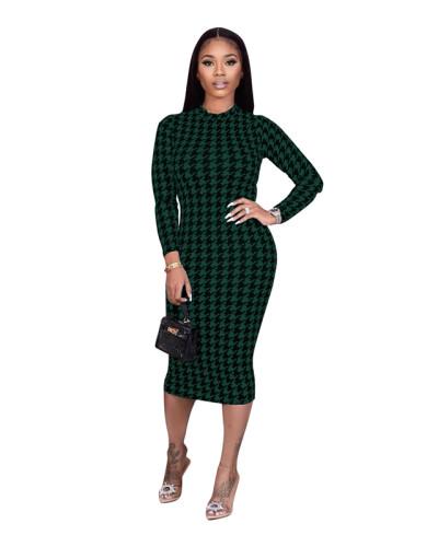 Green Houndstooth print dress