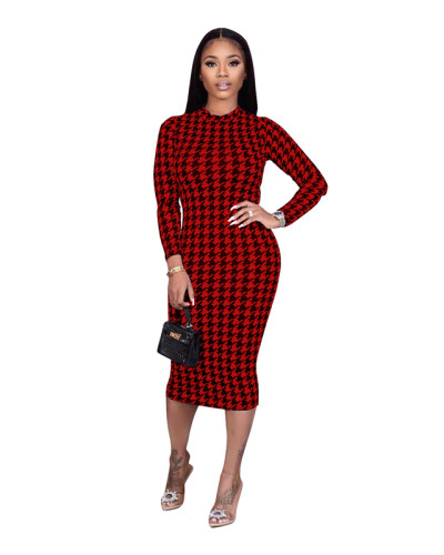 Red Houndstooth print dress