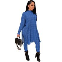 Blue Printed high neck home ladies suit