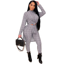 White Printed high neck home ladies suit