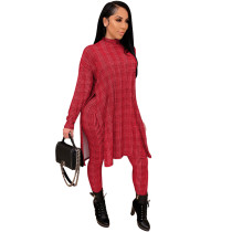 Red Printed high neck home ladies suit