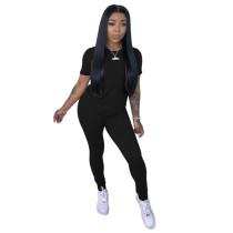 Black Pure color sports casual pants suit