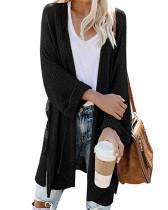 Black Long slit roll sleeve cardigan sweater