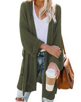 Green Long slit roll sleeve cardigan sweater