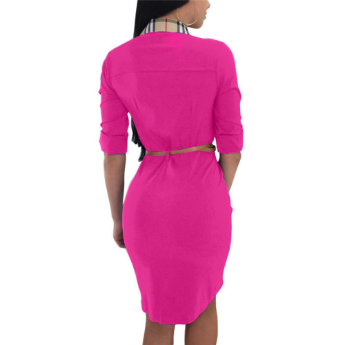 Rose Red Plaid printed shirt dress