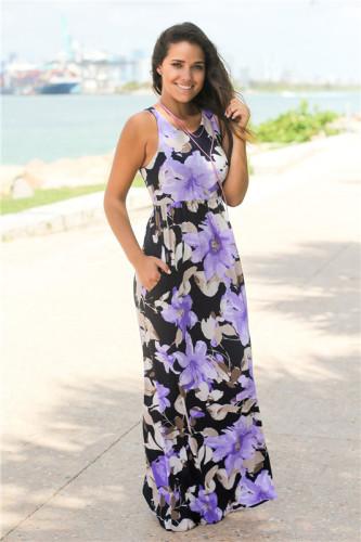 Purple Camellia print sexy multicolor round neck dress
