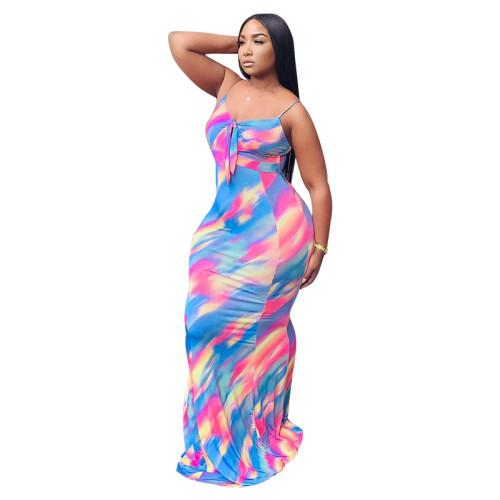 Printed irregular sling dress