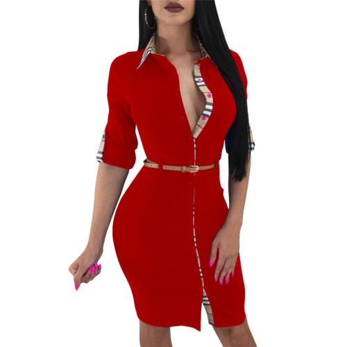 Red Plaid printed shirt dress