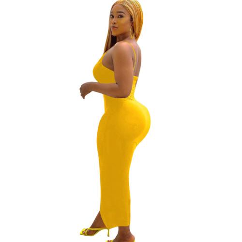 Yellow Long skirt tight sexy dress