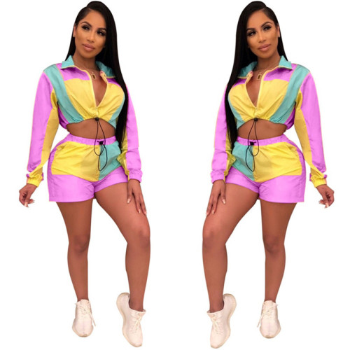 Purple Multi color matching long sleeve shorts sports suit