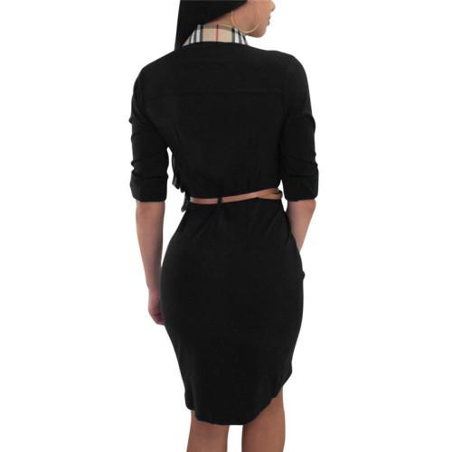 Black Plaid printed shirt dress