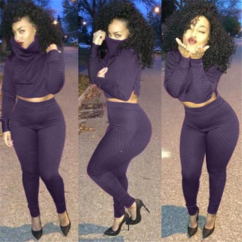 Purple Sexy slim two piece long sleeve high neck waist tight pants