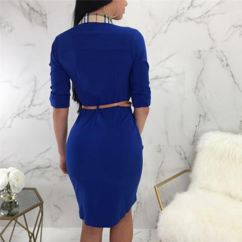 Blue Plaid printed shirt dress