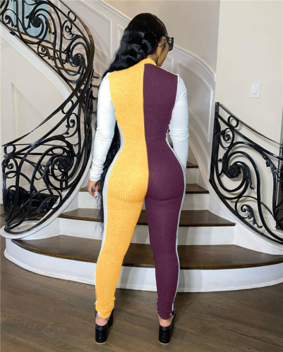 Yellow Multi color matching slim one piece