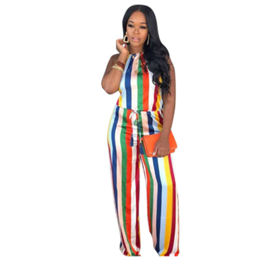 Sexy colorful striped jumpsuit