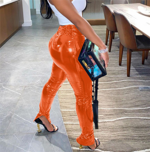 Orange Plush and thickened PU leather pants zipper slit bright leather small leg leather pants
