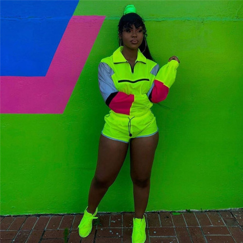 Fluorescent green Reflective stitching casual sports suit
