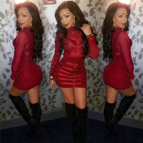 Red Sexy mesh Beaded slim long sleeve dress