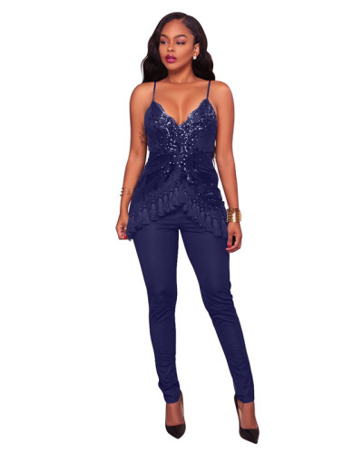 Dark Blue Sexy fashion tassel Sequin mesh suspender Jumpsuit