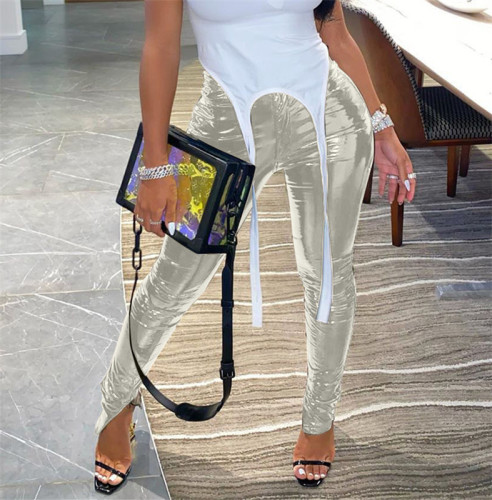 Silvery Plush and thickened PU leather pants zipper slit bright leather small leg leather pants