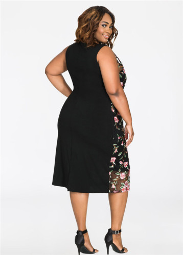 Black Oversized sexy embroidered dress skirt