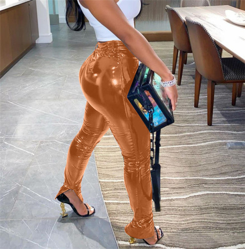 Coffee Plush and thickened PU leather pants zipper slit bright leather small leg leather pants