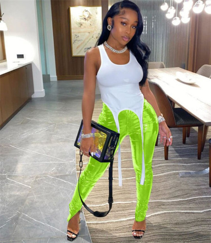 Fluorescent green Plush and thickened PU leather pants zipper slit bright leather small leg leather pants