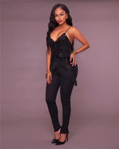 Black Sexy fashion tassel Sequin mesh suspender Jumpsuit