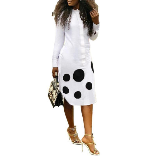 White Long sleeve polka dot dress