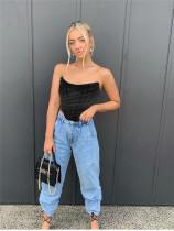 Black Fashion herringbone mesh bra vest