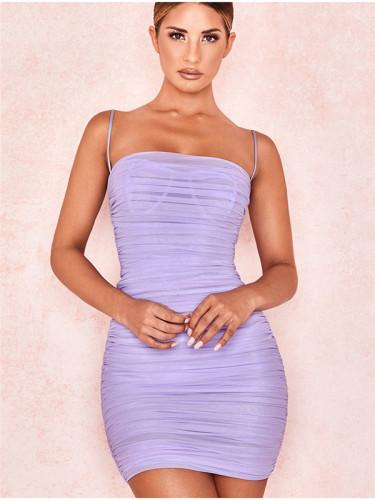 Purple Mesh sling skirt women dress