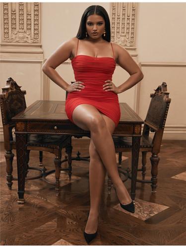 Red Mesh sling skirt women dress