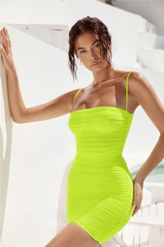 Light Green Mesh sling skirt women dress